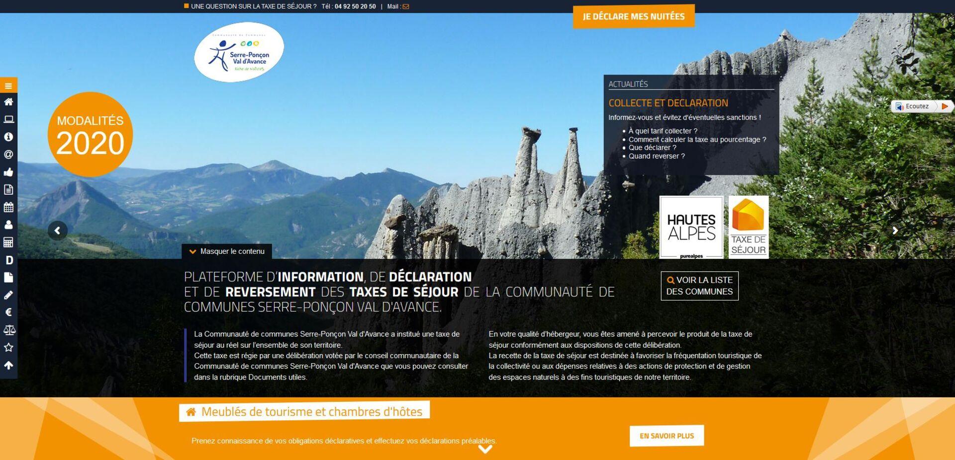 RENDEZ-VOUS SUR LA PLATEFORME DEDIEE ccspva.taxesejour.fr !